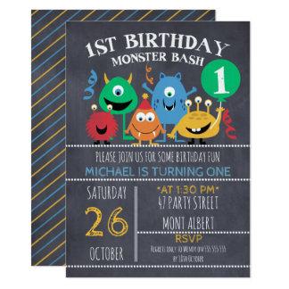 Jungen-Tafel-Monster-1. Geburtstags-Einladung 11,4 X 15,9 Cm Einladungskarte