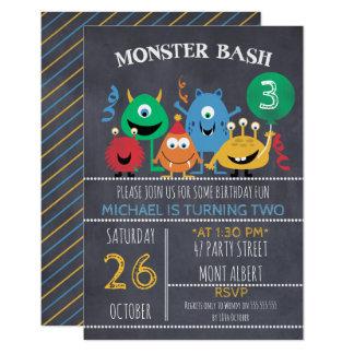 Jungen-Tafel-Monster-Schlag-Geburtstags-Einladung Karte