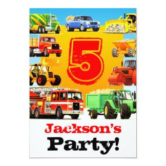 Jungen-tauscht 5. Geburtstags-Bau Party Karte