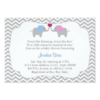 Jungen-und Mädchen-Zwillings-Babyparty Karte