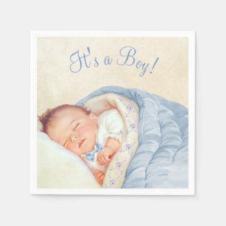 Jungen-Vintage Baby-Dusche Papierservietten