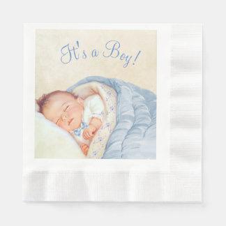 Jungen-Vintage Baby-Dusche Serviette
