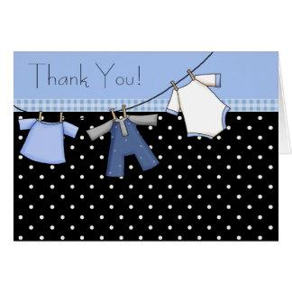 Jungen-Wäscheleine-Babyparty danken Ihnen Karten