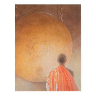 Junger buddhistischer Mönch und Klingel Bhutan Postkarte