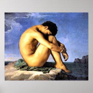 Junger Mann durch das Meer Poster