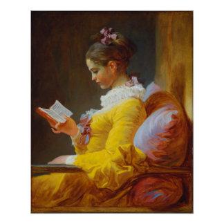 Junges Mädchen-Lesung durch Jean-Honore Fragonard Poster