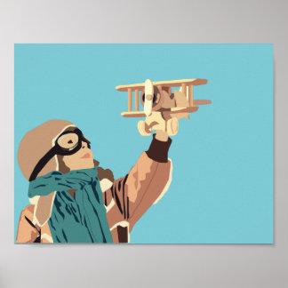 Junges Mädchen mit hölzernem Flugzeug-Plakat Poster