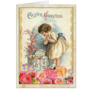 Junges Mädchen mit Osterei-Vintager Gruß-Karte Karte
