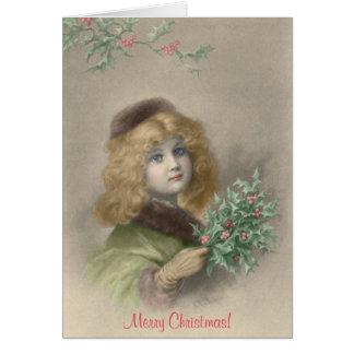 Junges Mädchen mit Stechpalme Weihnachten Karte