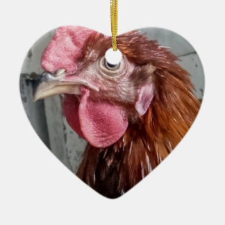 Junges Welsummer Hahn-Huhn Keramik Herz-Ornament
