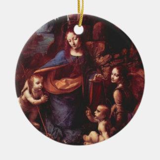 Jungfrau der Felsen durch Leonardo da Vinci Rundes Keramik Ornament