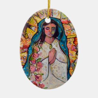 Jungfrau der Guadalupe-Weihnachtsverzierung Ovales Keramik Ornament