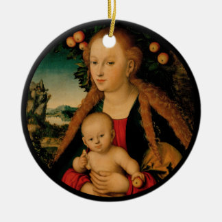 Jungfrau-Kind unter Apfelbaum Cranach Rundes Keramik Ornament
