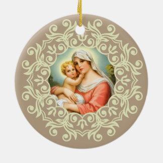 Jungfrau Mary Madonna mit Baby-Jesus-Spitze Keramik Ornament