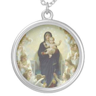 Jungfrau Mary mit Baby Jesus und Engeln Versilberte Kette