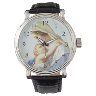 Jungfrau Mary und Baby Jesus mit Zahl-Uhr Armbanduhr
