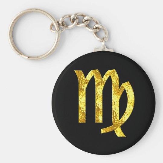 Jungfrau-Tierkreis-Zeichen-Schwarz-Goldsymbol Schlüsselanhänger