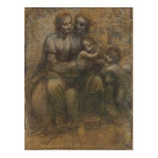Jungfrau und Kind mit St Anne durch Leonardo da Postkarte
