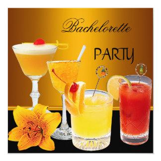 Junggeselinnen-Abschieds-Cocktail-Getränke Quadratische 13,3 Cm Einladungskarte