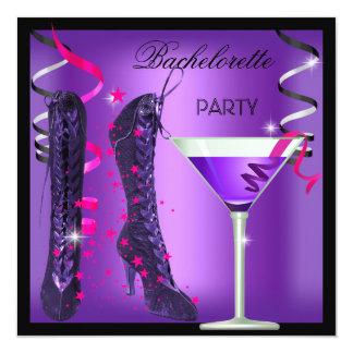 Junggeselinnen-Abschieds-lila Rosa lädt Cocktail Quadratische 13,3 Cm Einladungskarte