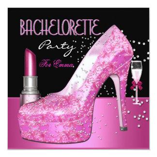 Junggeselinnen-Abschieds-Lippenstift-Rosa-Schuhe Quadratische 13,3 Cm Einladungskarte