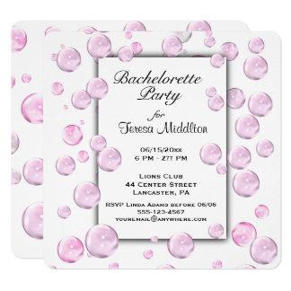 Junggeselinnen-Abschieds-rosa Blasen-Einladung Karte