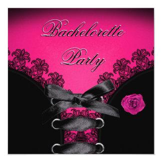 Junggeselinnen-Abschieds-rosa Rosen-Schwarz-Spitze Quadratische 13,3 Cm Einladungskarte