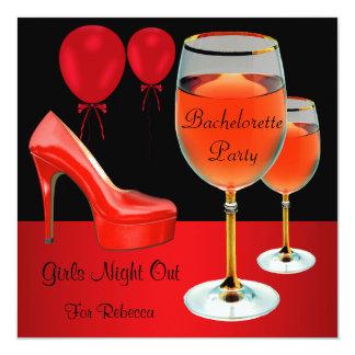 Junggeselinnen-Abschieds-rotes Schuh-hallo Quadratische 13,3 Cm Einladungskarte
