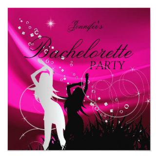 Junggeselinnen-Abschieds-schwarzes rosa weißes Quadratische 13,3 Cm Einladungskarte