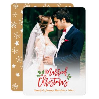 Jungvermählten-gerade verheiratetes erstes 12,7 x 17,8 cm einladungskarte