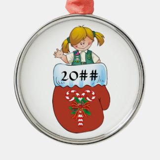Juniorhandschuh-Blondine Rundes Silberfarbenes Ornament