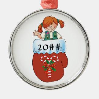 Juniorhandschuh-Rot-Haar Rundes Silberfarbenes Ornament