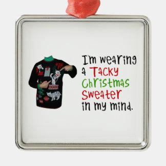 J'utilise un chandail de mauvais goût de Noël dans Ornement Carré Argenté