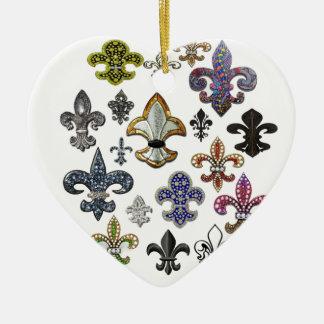 Juwel-Schein Lilien-Flor New Orleans Keramik Herz-Ornament