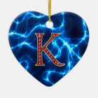 "K Imitat ""karminrotes"" Monogramm mit Beleuchtung Keramik Ornament"