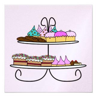 kaart high tea met cupcakes quadratische 13,3 cm einladungskarte