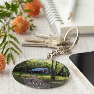 Kabine im Holz keychain Standard Runder Schlüsselanhänger