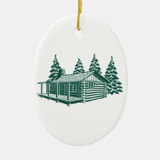 Kabine im Holz… Ovales Keramik Ornament