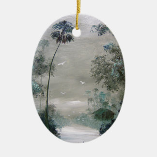 Kabinen entlang dem nebelhaften Fluss Ovales Keramik Ornament