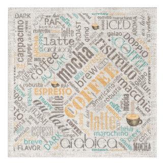 Kaffee auf Leinwand-Wort-Wolke aquamarines ID283 Acryldruck