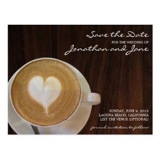 Kaffee Barrista Café Latte, das Save the Date Postkarte