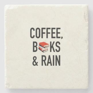 Kaffee, Bücher u. Regen Steinuntersetzer
