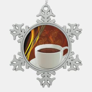 Kaffee-Café-Kunst Schneeflocken Zinn-Ornament