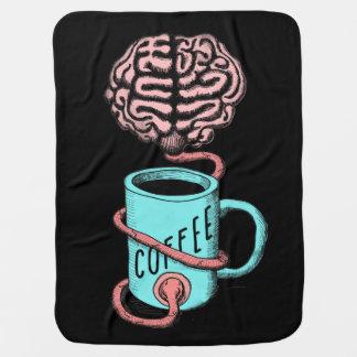 Kaffee für das Gehirn. Lustige Kaffeeillustration Kinderwagendecke