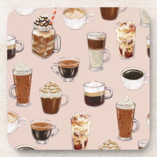 Kaffee-Getränk-und Nachtisch-Muster Getränkeuntersetzer