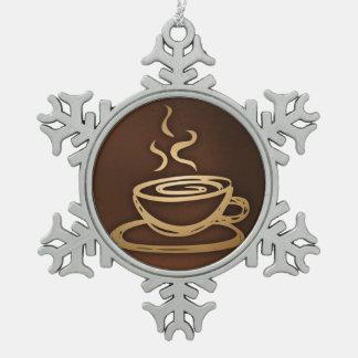 Kaffee in meiner Schale Schneeflocken Zinn-Ornament