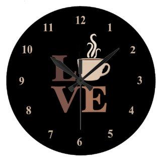 Kaffee-Liebe im Schwarzen Große Wanduhr