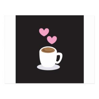 Kaffee-Liebeherzen auf Schwarzem Postkarte