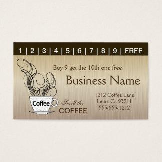 Kaffee-Lochkarten beide Seiten Visitenkarte