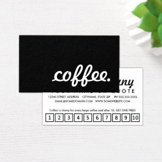 Kaffee. LoyalitätsLochkarte Visitenkarte
